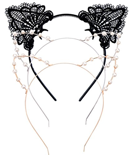 3PC - Cat Ears Headband - Women Girls Crystal Pearl Lace Kitty Cats Ears Hair Hoop Accessories (Pack A: 3 PCS)