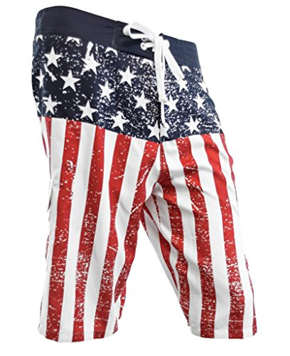 Calhoun Mens USA Flag Distressed Boardshorts