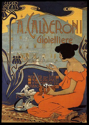 (A CALDERONI GIOIELLIERE MILANO JEWELER WOMAN JEWELRY BOX ITALY LARGE VINTAGE POSTER ON CANVAS REPRO)