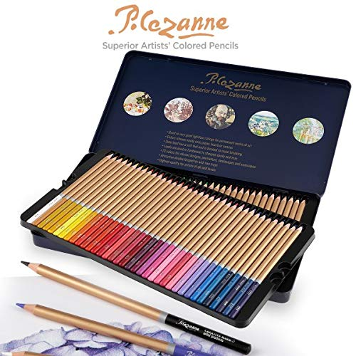Creative Mark Cezanne Colored Pencil Set For Adults - 72 Superior Professional Artist Quality Drawing Pencil High Lightfast Non-Toxic Pigments 3mm Diameter - Metal Gift Tin [Set of 72 Assorted Colors] (Best Quality Colored Pencils)