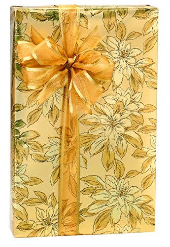 Gold Poinsettia Extra Long Golden Sparkle Christmas/Holiday Gift Wrap Wrapping Paper Large 18ft Roll