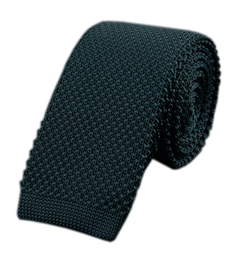 Green Wool Knit Ties (Men Dark Ivy Green Versatile Style Knit Neck Ties Long Woven Smart Soft Neckwear)