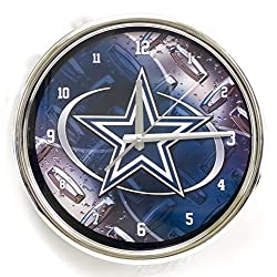 Dallas Cowboys large chrome wall clock. Ideal for family room, man cave or office decor. Wonderful gift for dads on Father's Day.