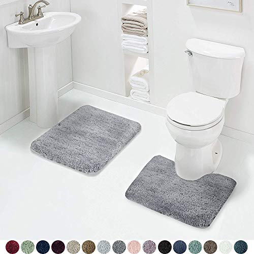 Walensee Shaggy 2 Piece Bath Rug Sets (Grey) 20 x 24 U Shape Contour Rug & 20 x 32 Bathroom Rug Machine Wash/Dry Bath Mats for Bathroom Plush Absorbent Bathroom Rugs and Mats Set Non Slip