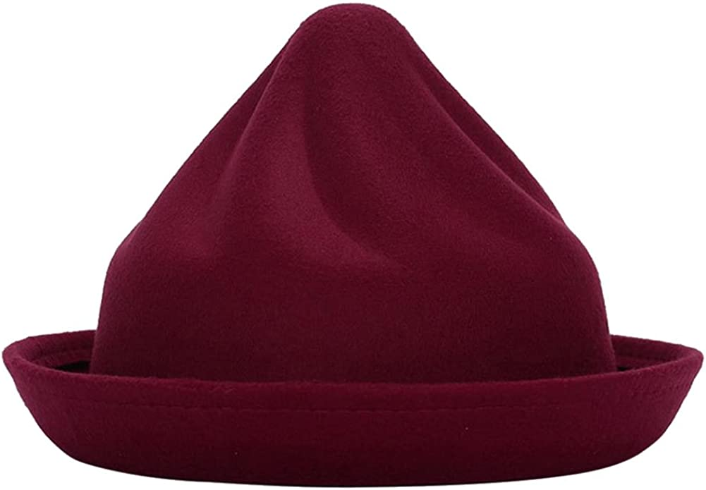 Demarkt Melonen Hut Filzhut Jazz Hut f/ür Damen im Herbst und Winter Elegantes Schmuck aus Filz Kopfumfang von 57-58CM Dunkelrot