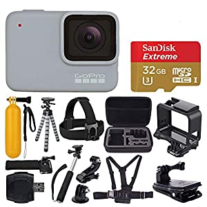 GoPro Hero 7 (White) Waterproof Digital Action Camera + Sandisk Extreme 32GB MicroSD Memory Card + Medium Case + Flexible Tripod + Head & Chest Strap + Monopod + Floating Handle + Wrist Strap + Clamp