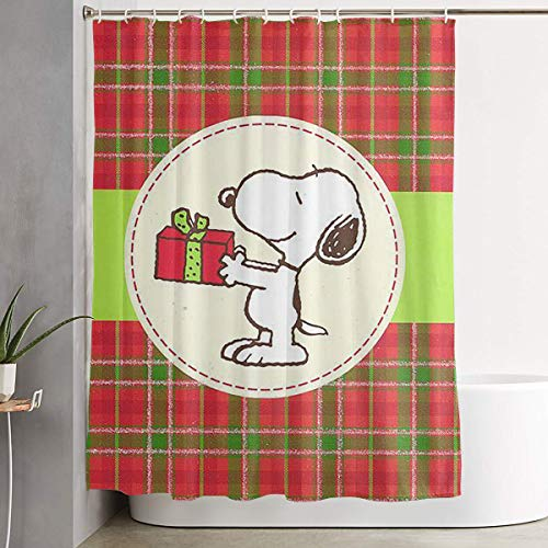 WXCYL Snoopy & Present Christmas Fashion Polyester Shower Curtain 60x72 Inch ()