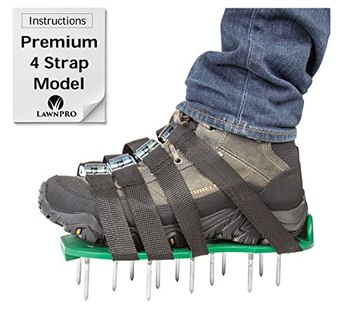 Lawn Aerator Sandals, LawnPro Aeration Shoes With 4 Straps, Metal Buckles, Steel Spikes, Heavy Duty Durable Wear