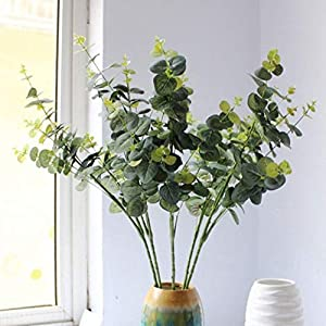 """famibay Artificial Greenery Eucalyptus Leaves Faux Straight Silver Dollar Eucalyptus Plants Silk Greenery Stems for Greenery Wedding Party Floral Arrangemente 35"""" Tall Pack of 3 Green 15"""