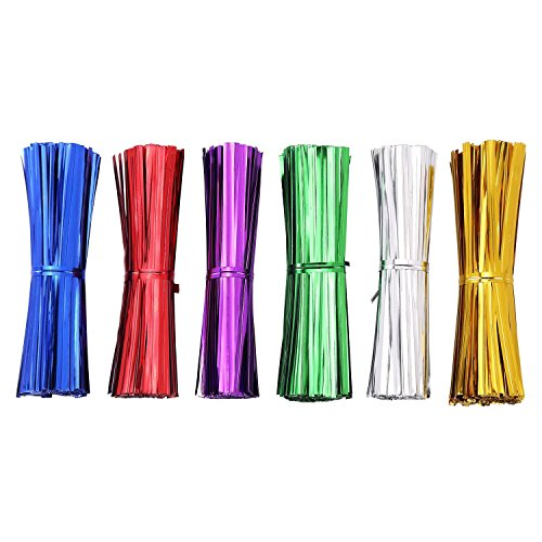 Ties Twist Colored - AIRSUNNY 600 pcs 4'' Metallic Twist Ties - 6 Colors red, blue, green, gold, silver and pink