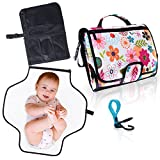 Travel Changing Pad for Baby. Easily Change Diapers on the Go! Portable Changing Station, Clutch Bag w/ Waterproof Mat & Pockets for Accessories (diapers, wipes, cream). Bonus Stroller Hook. (Floral)