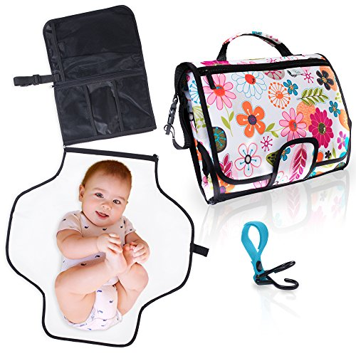 Travel Changing Pad for Baby. Easily Change Diapers on the Go! Portable Changing Station, Clutch Bag w/Waterproof Mat & Pockets for Accessories (diapers, wipes, cream). Bonus Stroller Hook. (Floral) by Baziliq