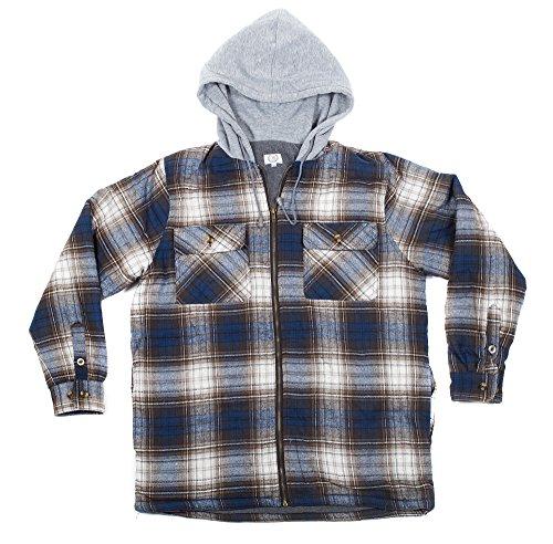 Tall Zipper (North 15 Men's Big & Tall Hooded Flannel Shirt - Polar Fleece Lining, Zipper)