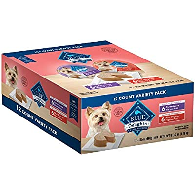 Blue Buffalo Delights Natural Adult Small Breed Wet Dog Food Cups Variety Pack, Filet Mignon Flavor in Savory Juice and Porterhouse Flavor in Savory Juice 3.5-oz (12pack- 6 of each flavor)