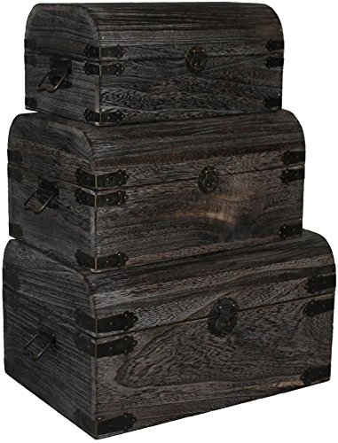 Dark Brown Nested Wooden Storage Boxes Handmade
