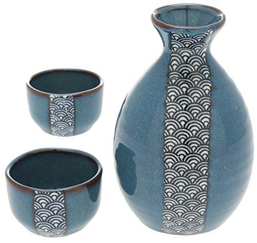 Kotobuki Sake Set Blue and White Wave Design - Junmai Daiginjo Sake