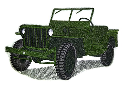 Classic Jeep Collection [1944 Military Jeep] [American Automobile History in Embroidery] Embroidered Iron On/Sew patch [6.44
