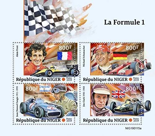 Niger - 2019 Formula 1 Racing - 4 Stamp Sheet - NIG190115a