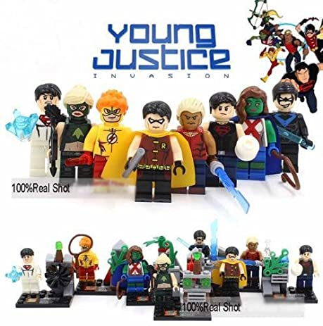 Amazon.com: 8Piece SuperHeroes Young Justice Invasion Robin Black ...