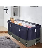 KOSIEJINN Portable Folding Bathtub, Independent Family Vertical Bathtub, Bathtub with Water Filling Cushion and Backrest, Suitable for Hot Water Bath and Ice Bath, 47.2x19.7x21.7 inches