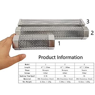 IMSurQltyPrise Smoker Smoke Tube Box for Pellets Grill, 304 Stainless Steel BBQ Cold Smoker Generator Tube, 2.5 Hours of Billowing Hot or Cold Smoking - 6