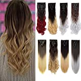 Clip in Hair Extensions Ombre Dip Dye Color Synthetic Full Head Hairpiece 2 Tone Japanese Kanekalon Fiber Thick Long Curly Wavy 8pcs 18clips for Women 24'' / 24 inch (Dark Brown to Ash Blonde)