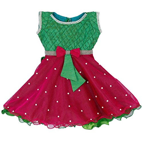 Lavis Latest Designer Baby Girls Green And Pink Frock Gown Is Yoked