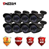 Cheap TMEZON 8 Pack HD-TVI HD 1080P 2.0MP SONY Sensor Outdoor Bullet Camera 3.6mm Indoor/Outdoor Infrared IR 42IR Lens Only Work with HD-TVI DVR