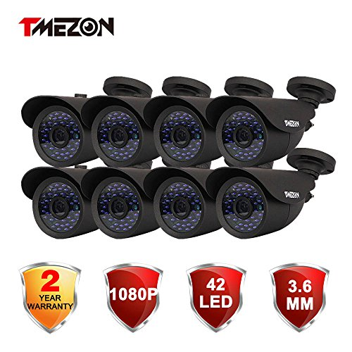 TMEZON 8 Pack HD-TVI HD 1080P 2.0MP SONY Sensor Outdoor Bullet Camera 3.6mm Indoor/Outdoor Infrared IR 42IR Lens Only Work with HD-TVI DVR