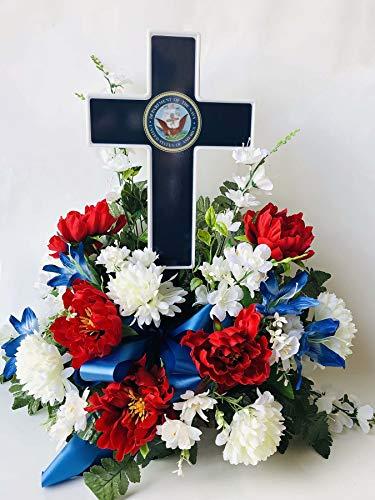 Eternal Light - Solar Lighted Cross - Navy Veteran Hero Memorial for Grave or Garden