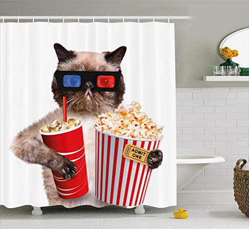 Ambesonne Movie Theater Shower Curtain, Cat with Popcorn and Drink Watching Movie Glasses Entertainment Cinema Fun, Cloth Fabric Bathroom Decor Set with Hooks, 70