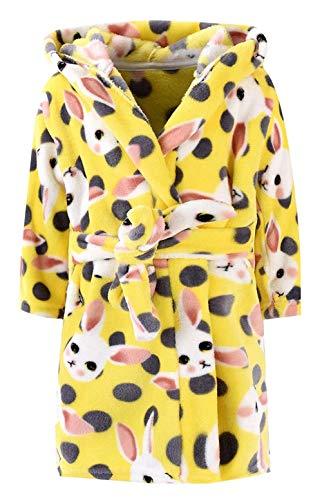 Unisex Children's Flannel Bathrobes Hoodie Kids Soft Bathrobe Fleece Sleepwear Comfortable Loungewear Yellow Rabbit (US 4/Height ()