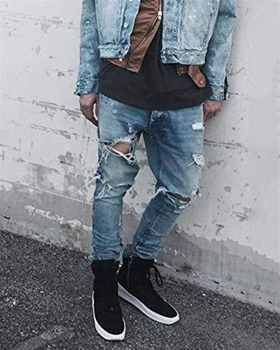 Denim Ginocchio Jeans Distrutto Hellblau Uomo Slim Fit Strappati Casual Pantalone Da Skinny Vintage Pantaloni UwRqT7wa