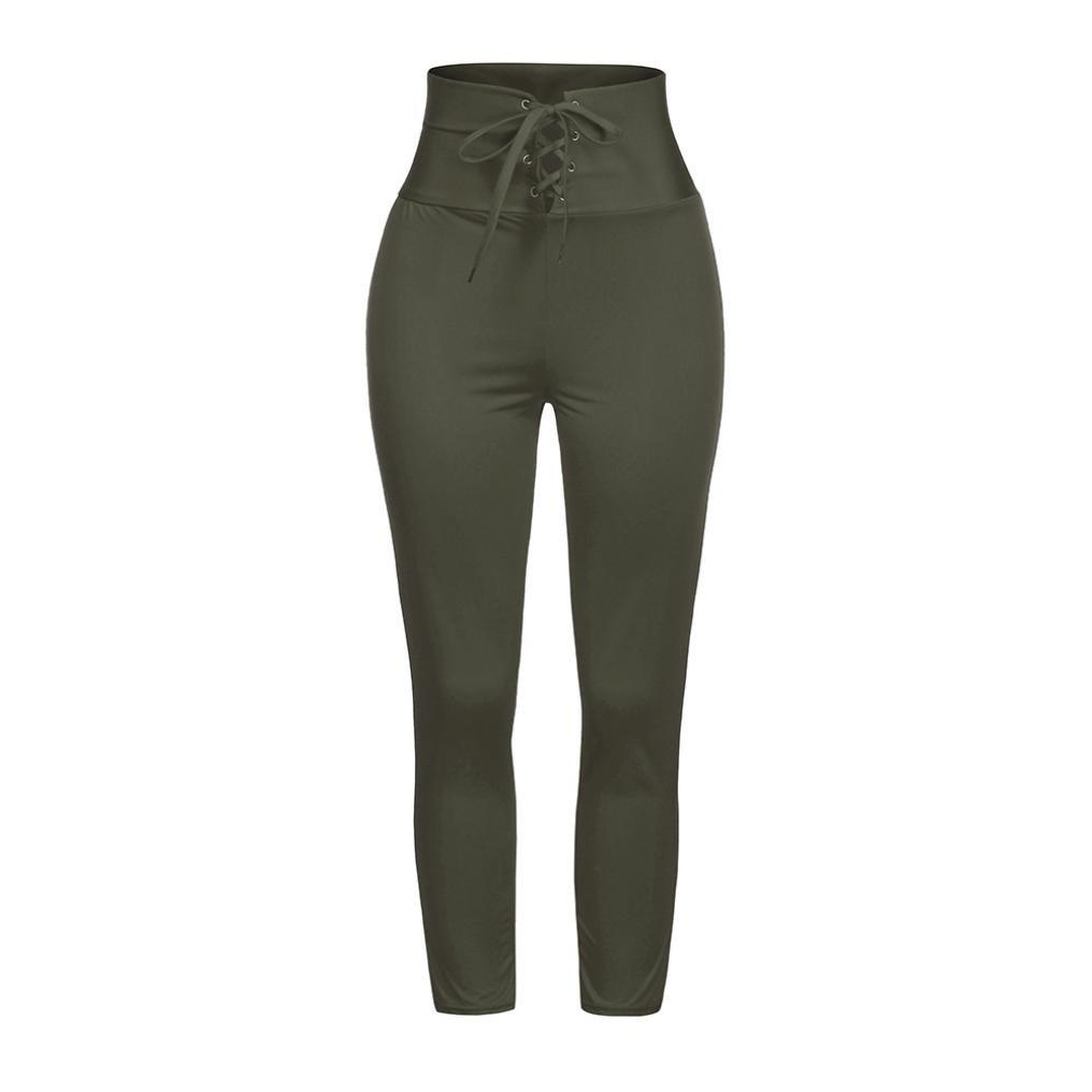 Daylin Mujer Casual Pitillo Vendajes Pantalones Cintura Alta Elastico Pantalon Color Solido Pantalones