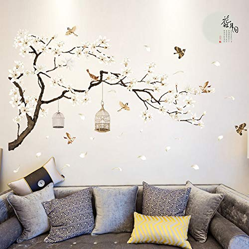Fhuiml White Cherry Blossom Wall Mural Art Vinyl Flowers Wall Sticker Decal Home Living Room