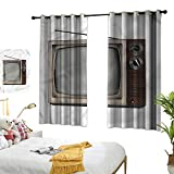 Warm Family 1950s Thermal Insulated Drapes for Kitchen/Bedroom Old Television with Antenna Privacy
