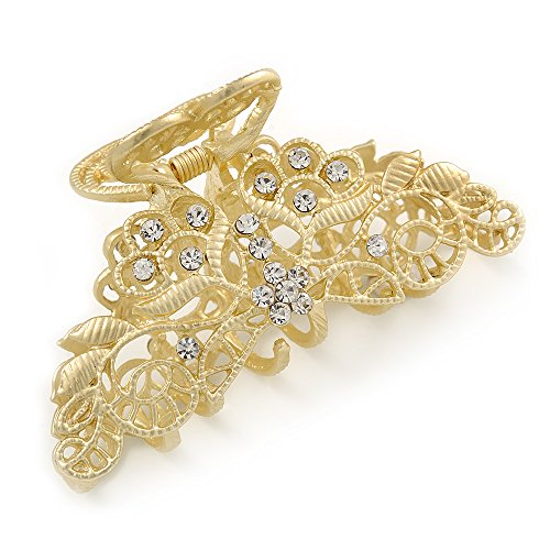 Avalaya Medium Clear Crystal Floral Filigree Hair Claw in Matte Gold Tone - 75mm Across ()
