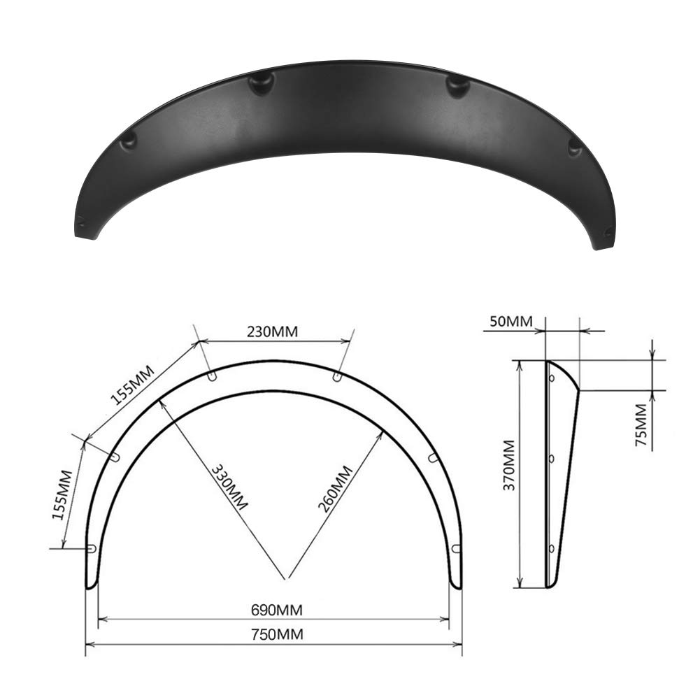 4Pcs 30//33 Fender Flares Universal Car Truck Wheel Eyebrow Arch Fender Flares for Audi Ford Nissan Chevrolet