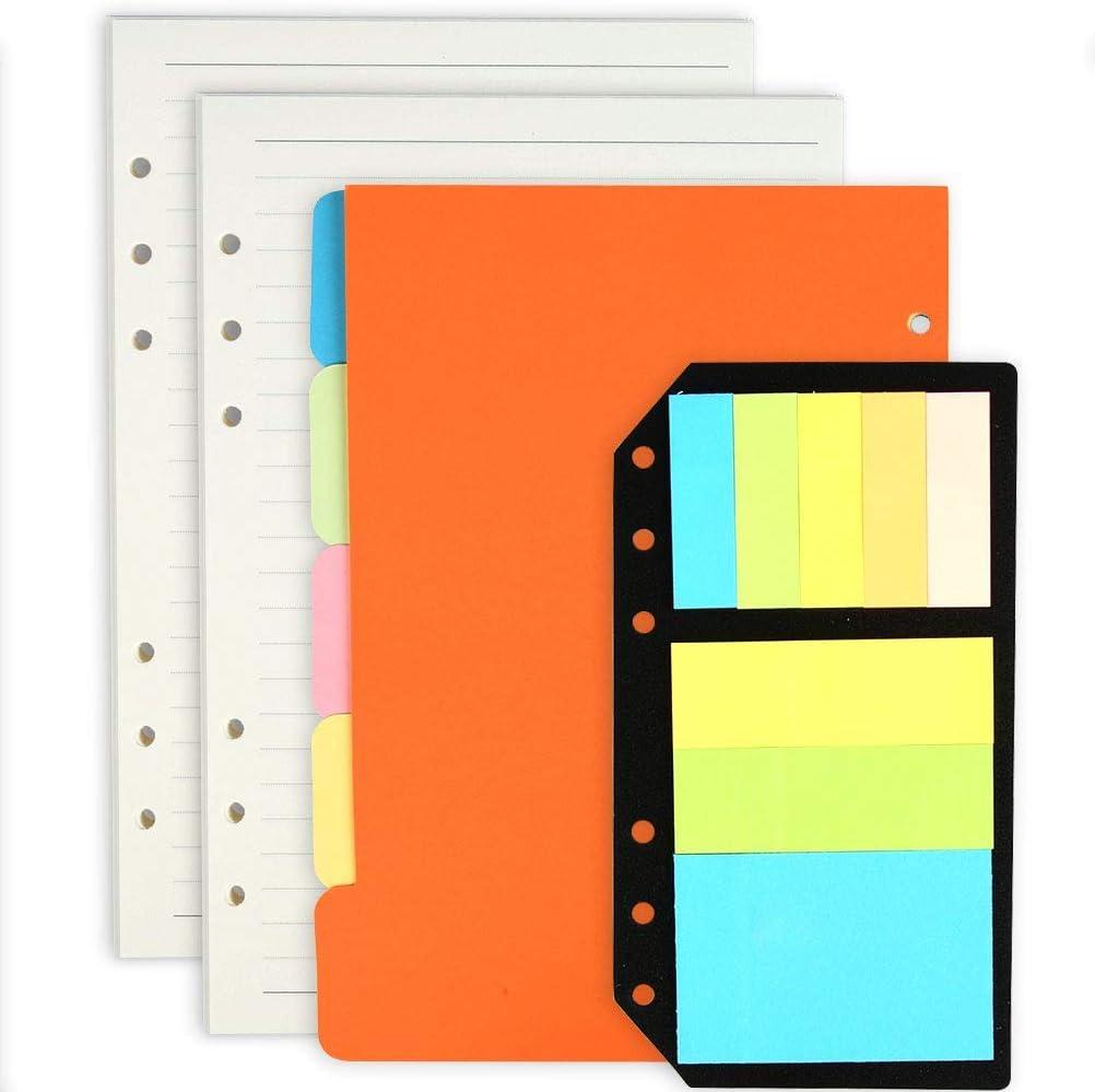 LATERN Juego de notebook A5 recargable, Paquete de 2 repuestos de A5 Inserciones Papel rayado + 5 divisores de color A5 de tema + 240 pcs Banderas de nota Pestañas Índice