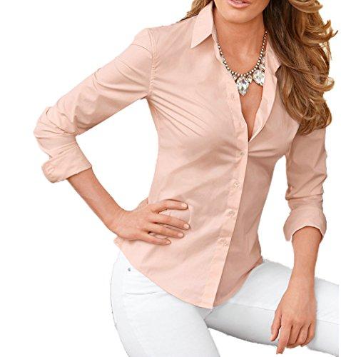 avec Femme Bouton t Shirts Svelte T Tops Longues Revers Legendaryman Shirt Chemisiers Couleur Blouse Manches Fashion Unie Rose Tunique xpEfaZw