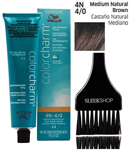 Wella COLOR CHARM DEMI-PERMANENT Haircolor Dye, No Ammonia Cream (w/Sleek Tint Brush) 1:2 Mix Ratio Hair Color Creme (4N-4/0 Medium Natural Brown)