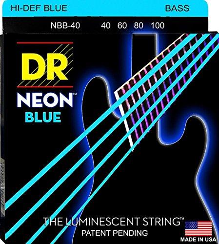 DR Strings Hi-Def NEON Blue Coated Lite 4-String Bass Strings (Pink Bass Strings)