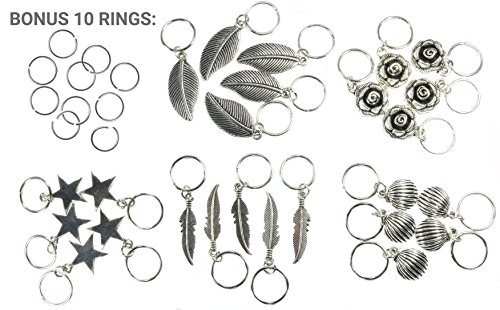 Bling Rings - 35 Silver Hair Ring Charms (Bonus 10 Plain Rings) for Pierced Braid & Dreadlock Decoration - Girl Jewelry Accessories - Kardashian Style Kim Celebrity