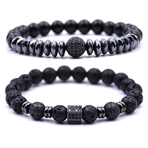 Dolovely 8mm Black Lava Stone Beads Diffuser Bracelet for Men Women CZ Charm Bracelet Set