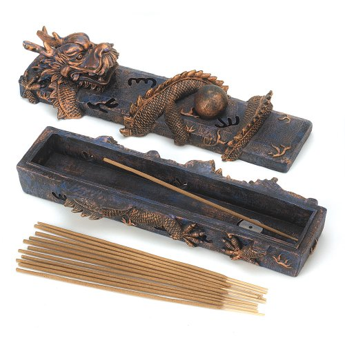 SAI Dragon Incense Burner Set Asian Guardian Trinket Box