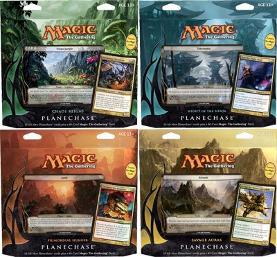 Magic the Gathering Planechase 2012 Set of 4 Decks Chaos Reigns, Night of the Ninja, Primordial Hunger Savage Auras