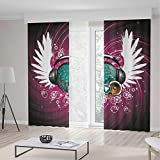 TecBillion Decor Collection,Popstar Party for Living Room,Disco Ball with Headphones and Angel Wings Vibrant Swirl with Circles,236Wx106L Inches