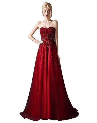 Beauty-Emily Rosette Sweet Heart Riemen ärmellose Sweep Tailing  Brautkleider  Amazon.de  Bekleidung 02f2b36ec9