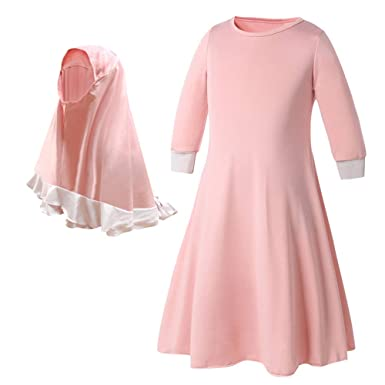 a8a56aab72f65 Islamic Muslim Dress - Solid Color Long Abaya with Hijab - Long Sleeves -  for Kids
