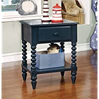 Furniture of America CM-AC323BL Lindsey Blue Nightstand, 24.3 H